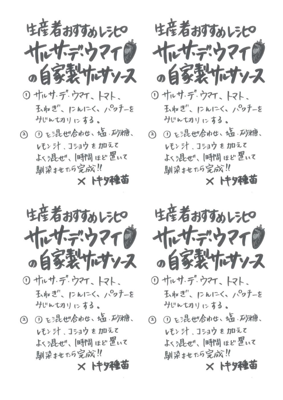 サルサ・デ・ウマイの自家製サルサソース手書きレシピ