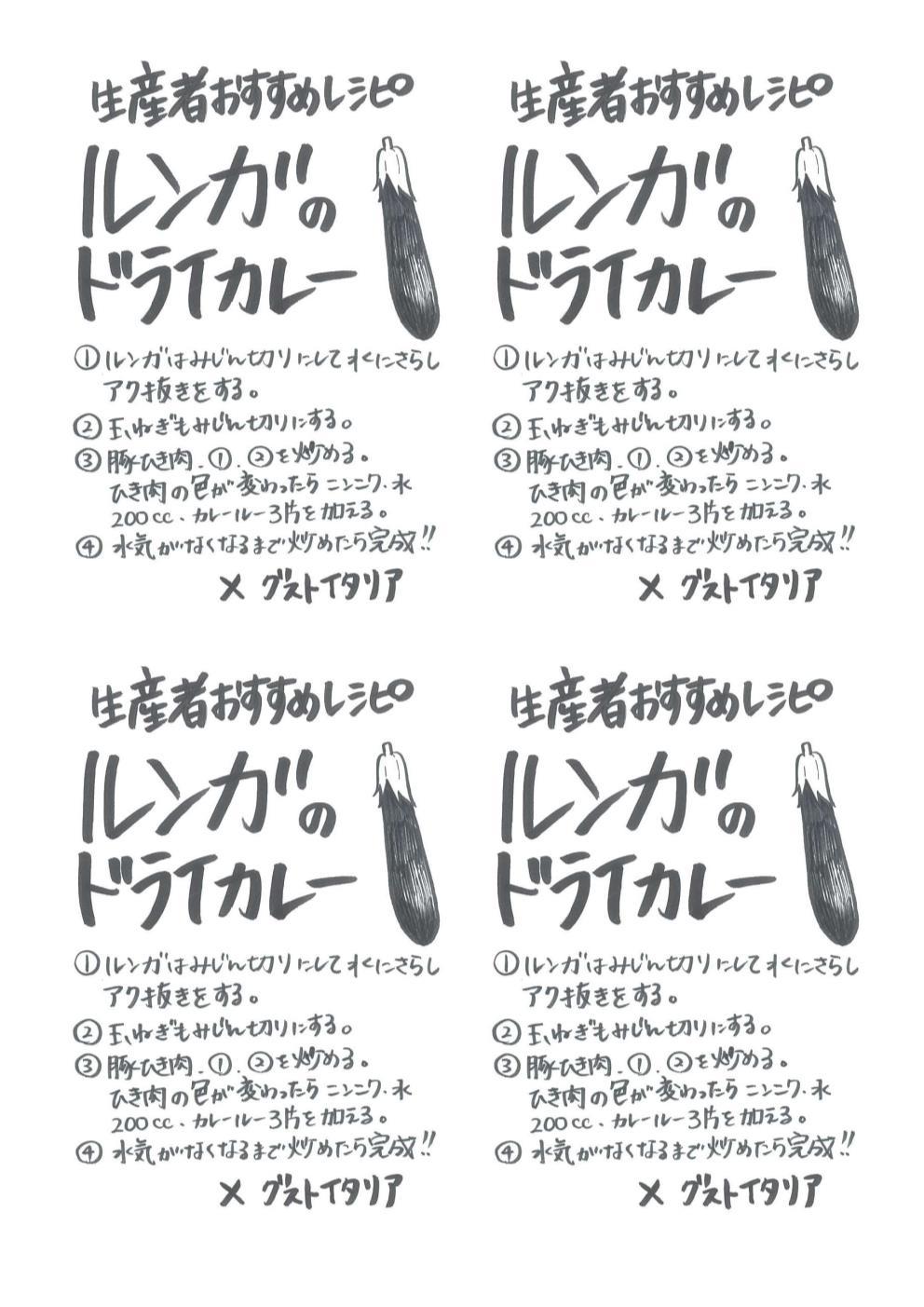ルンガのドライカレー手書きレシピ