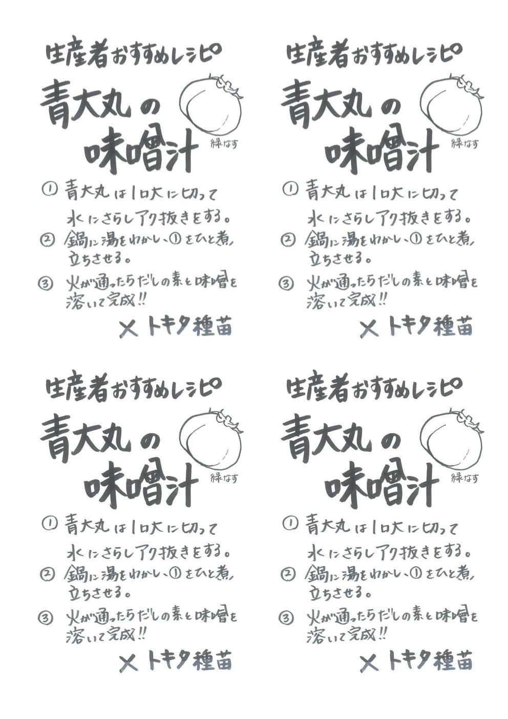 青大丸の味噌汁手書きレシピ